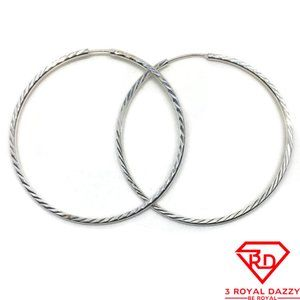 Large Thin Round Hoop Earrings 925 Solid Silver